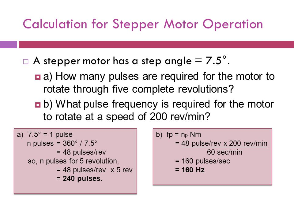 Stepper motor frequency for Servo motor sizing calculator online