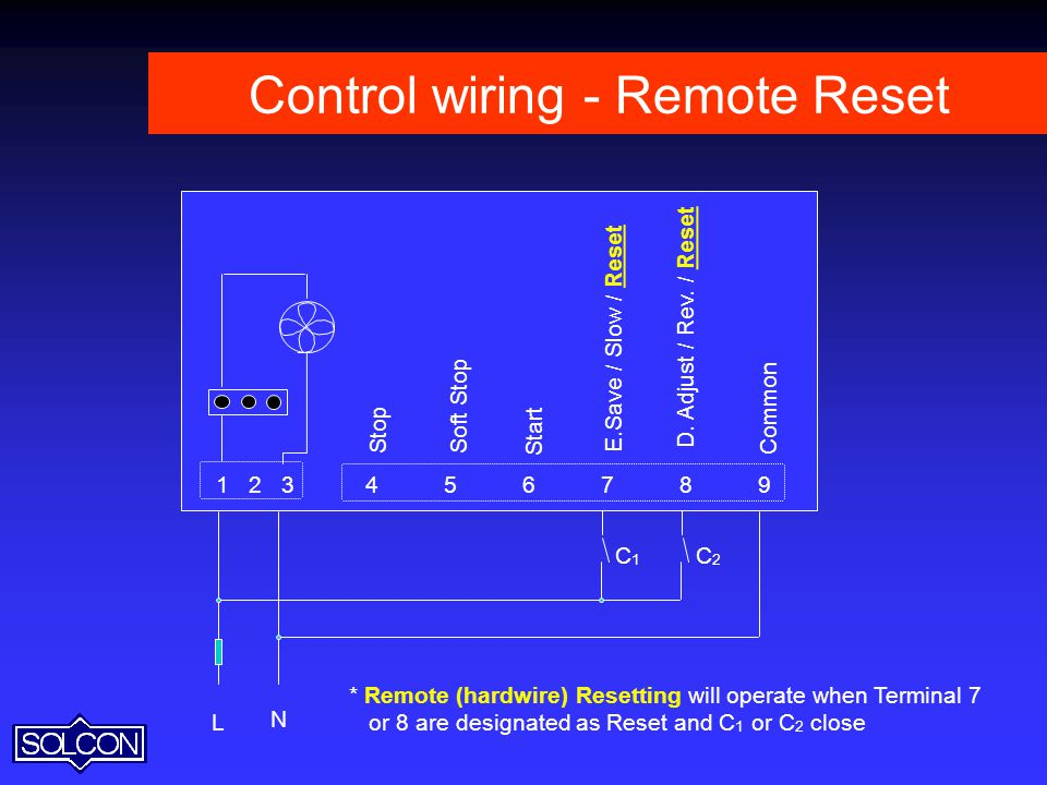 Control wiring - Remote Reset