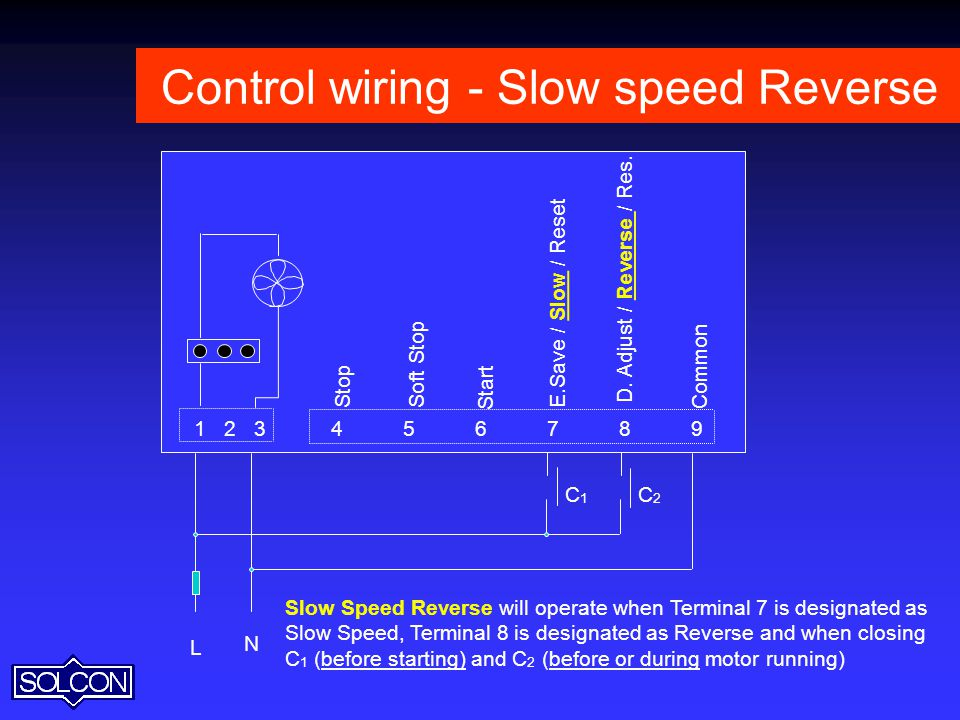 Control wiring - Slow speed Reverse