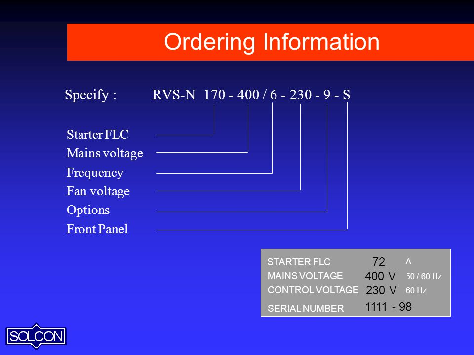 Ordering Information Specify : RVS-N / S