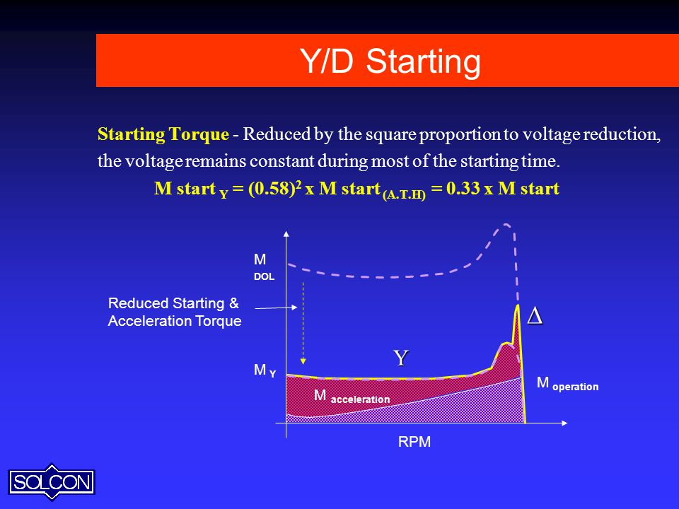 Y/D Starting Starting Torque - Reduced by the square proportion to voltage reduction, the voltage remains constant during most of the starting time.