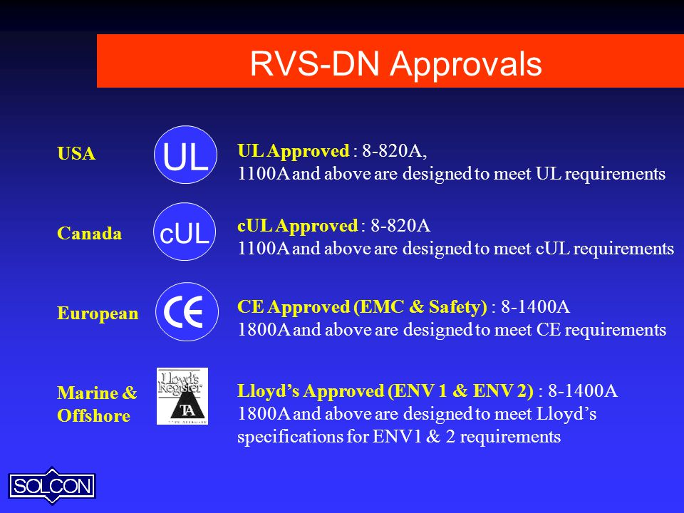 UL RVS-DN Approvals cUL UL Approved : 8-820A, USA