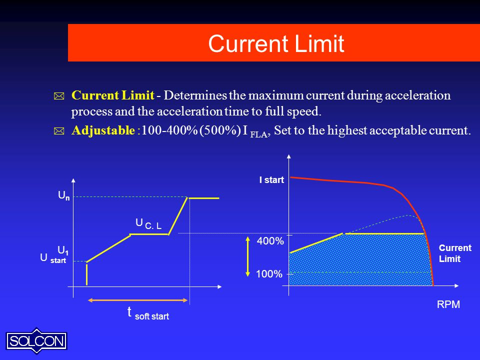 Current Limit Current Limit - Determines the maximum current during acceleration process and the acceleration time to full speed.