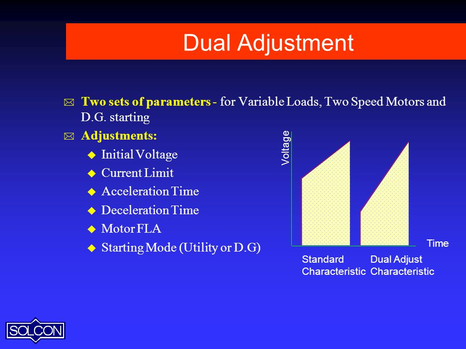 Dual Adjustment Two sets of parameters - for Variable Loads, Two Speed Motors and D.G. starting. Adjustments: