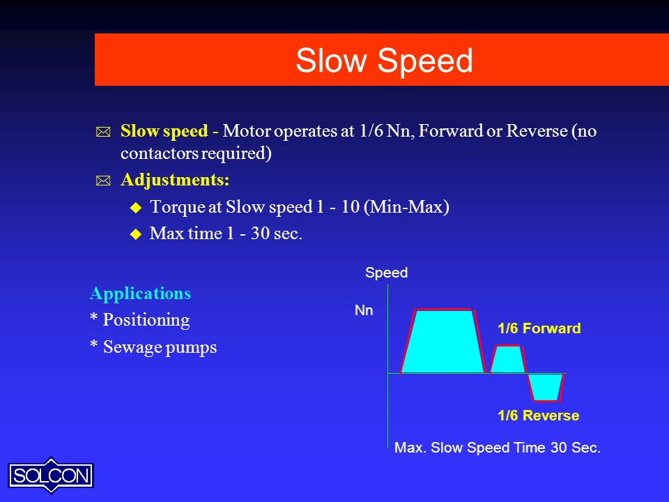 Slow Speed Slow speed - Motor operates at 1/6 Nn, Forward or Reverse (no contactors required) Adjustments: