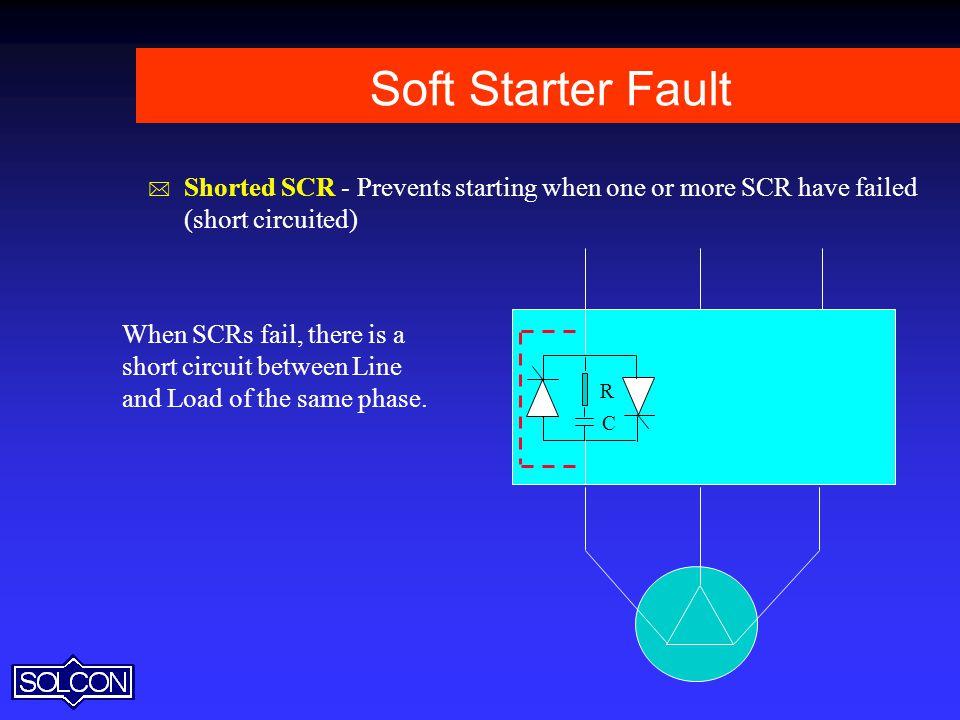 Soft Starter Fault Shorted SCR - Prevents starting when one or more SCR have failed (short circuited)