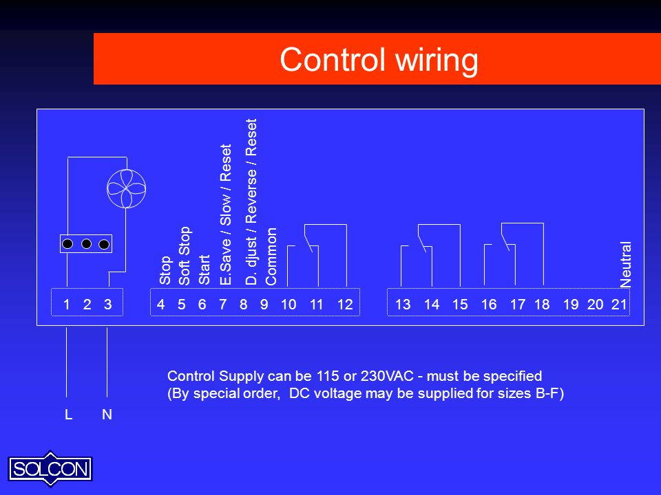 Control wiring L. N. Control Supply can be 115 or 230VAC - must be specified. (By special order, DC voltage may be supplied for sizes B-F)