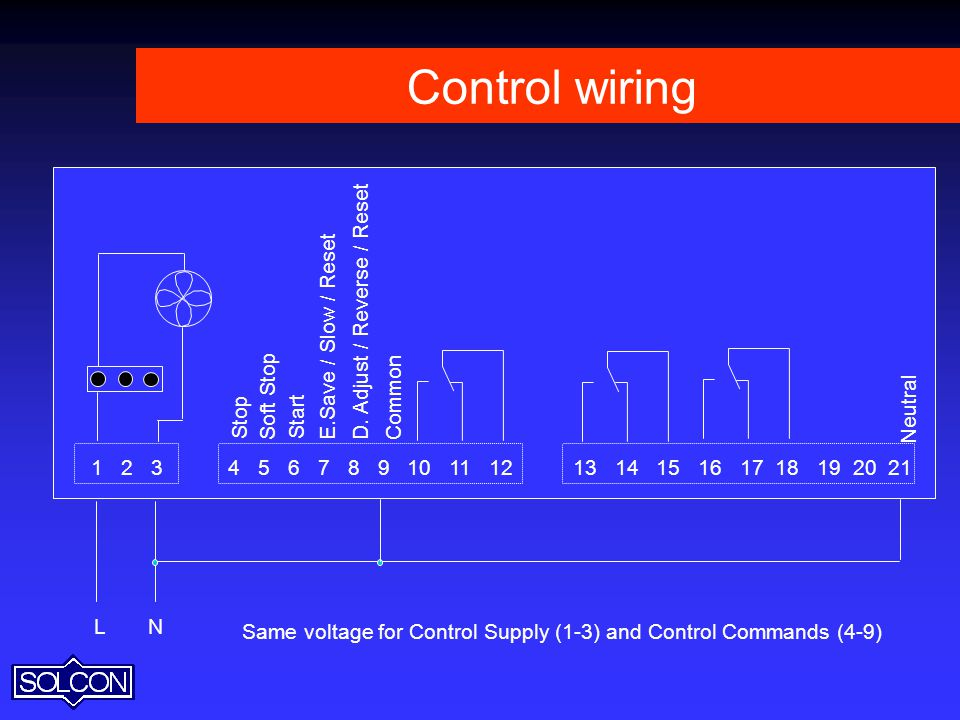 Control wiring L. N. Same voltage for Control Supply (1-3) and Control Commands (4-9)