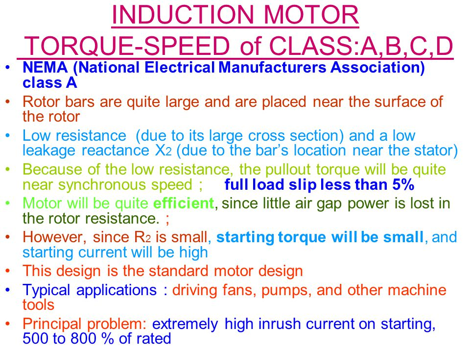 INDUCTION MOTOR TORQUE-SPEED of CLASS:A,B,C,D
