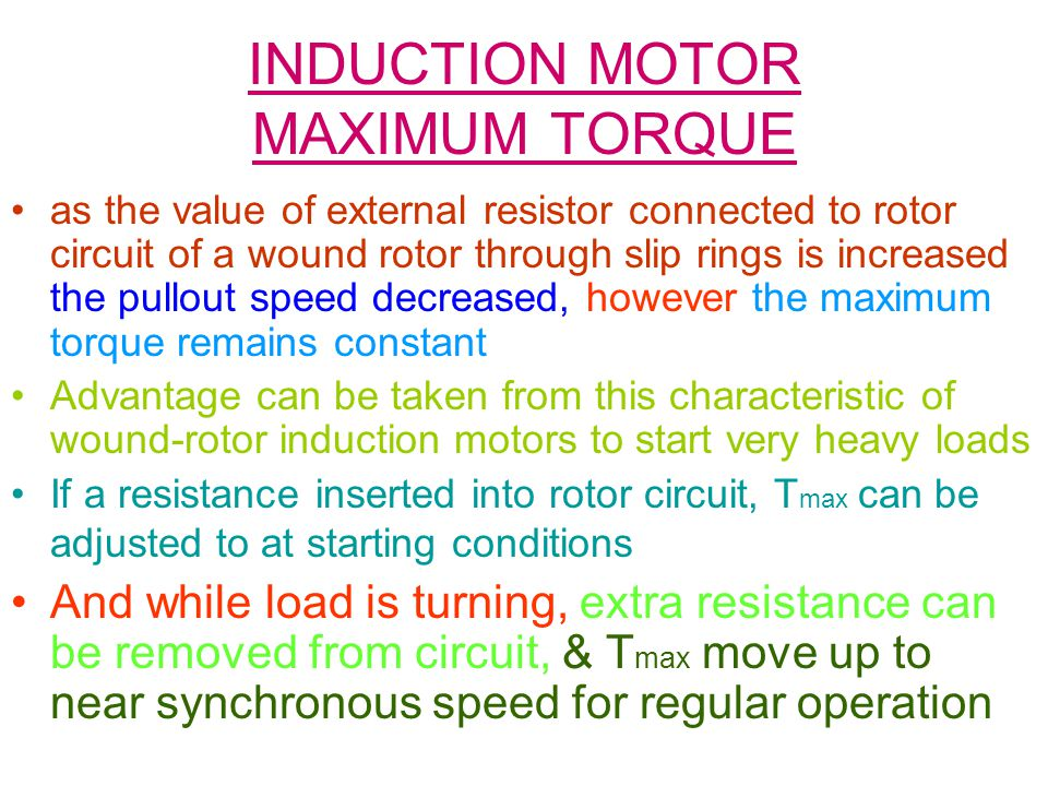 INDUCTION MOTOR MAXIMUM TORQUE
