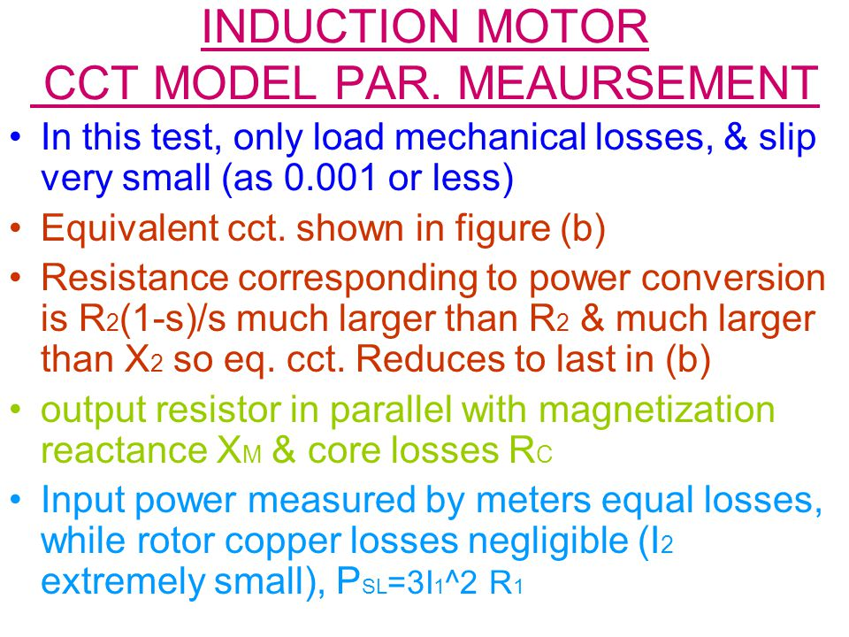 INDUCTION MOTOR CCT MODEL PAR. MEAURSEMENT