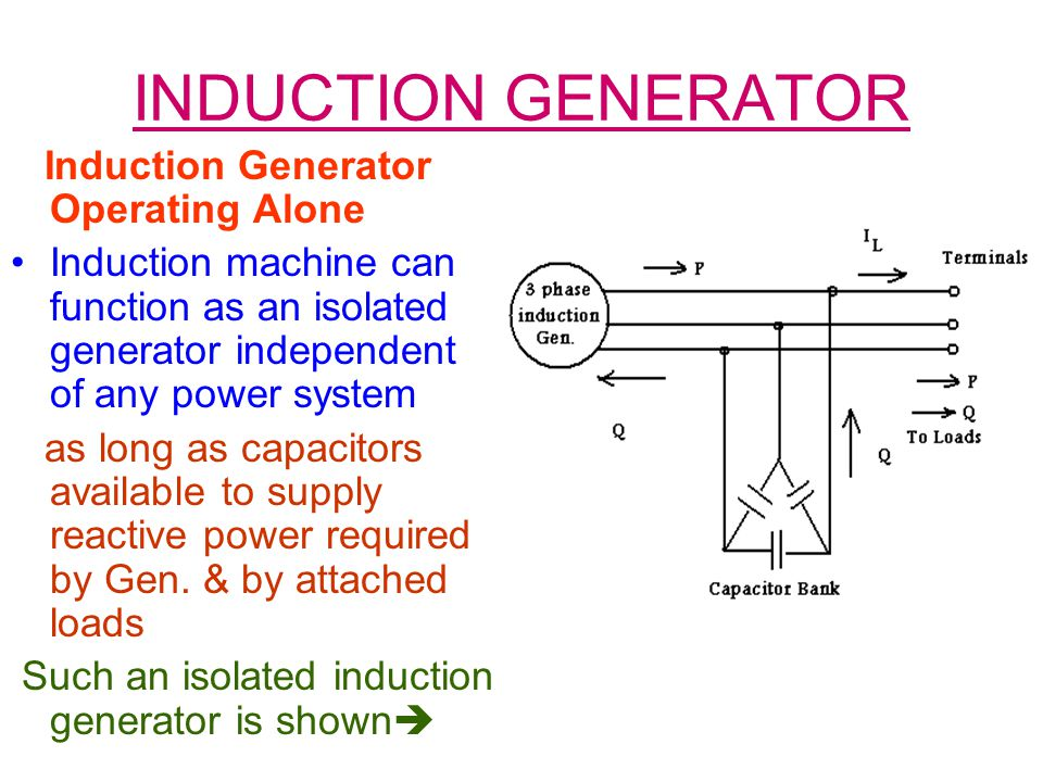 INDUCTION GENERATOR Induction Generator Operating Alone
