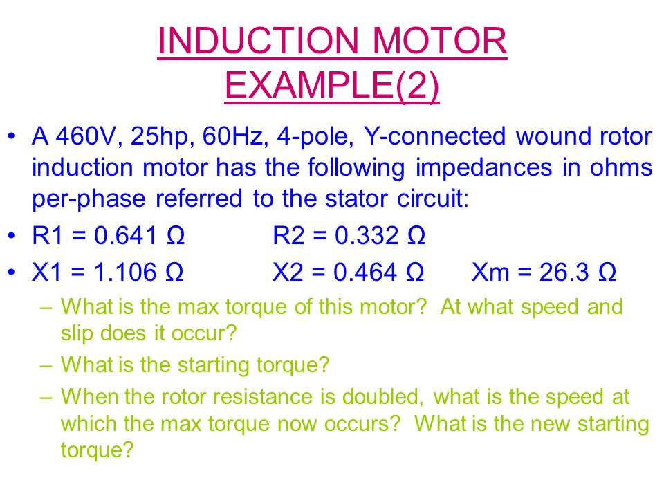 INDUCTION MOTOR EXAMPLE(2)