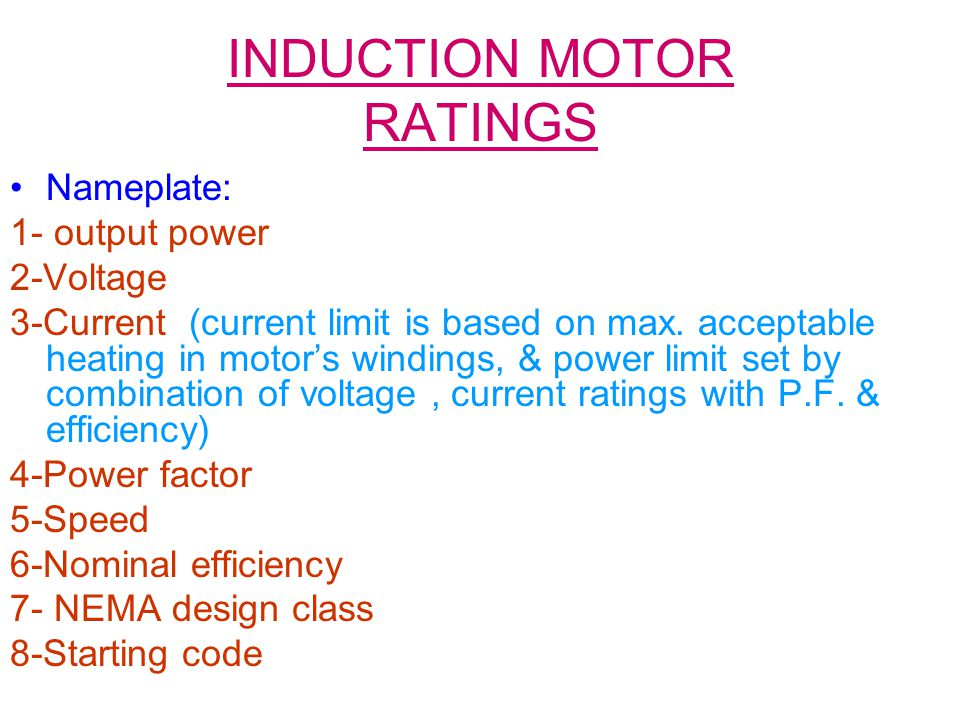INDUCTION MOTOR RATINGS