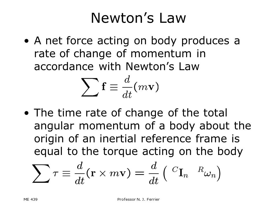 Newton's Law A net force acting on body produces a rate of change of momentum in accordance with Newton's Law.