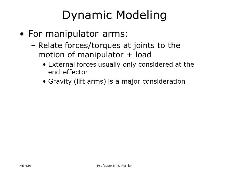 Dynamic Modeling For manipulator arms: