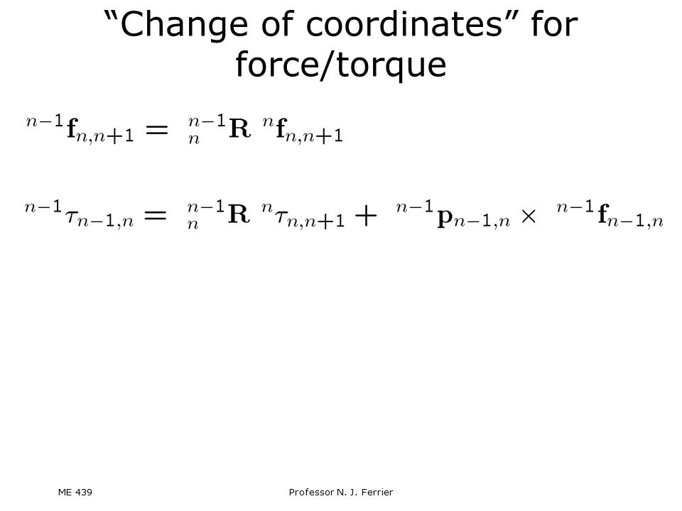 Change of coordinates for force/torque