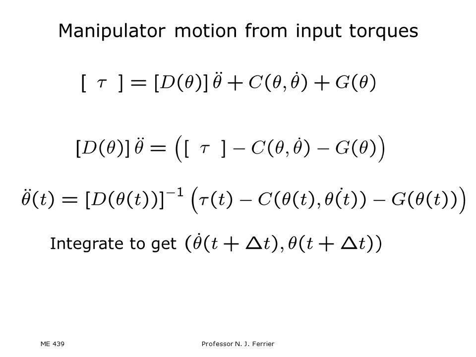 Manipulator motion from input torques