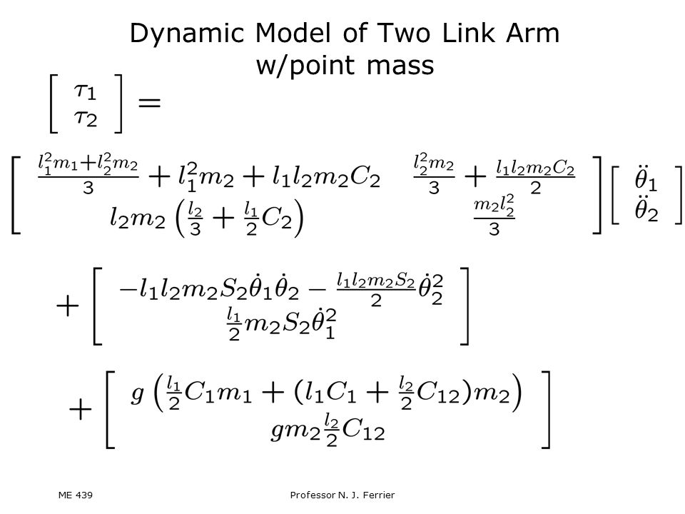 Dynamic Model of Two Link Arm w/point mass