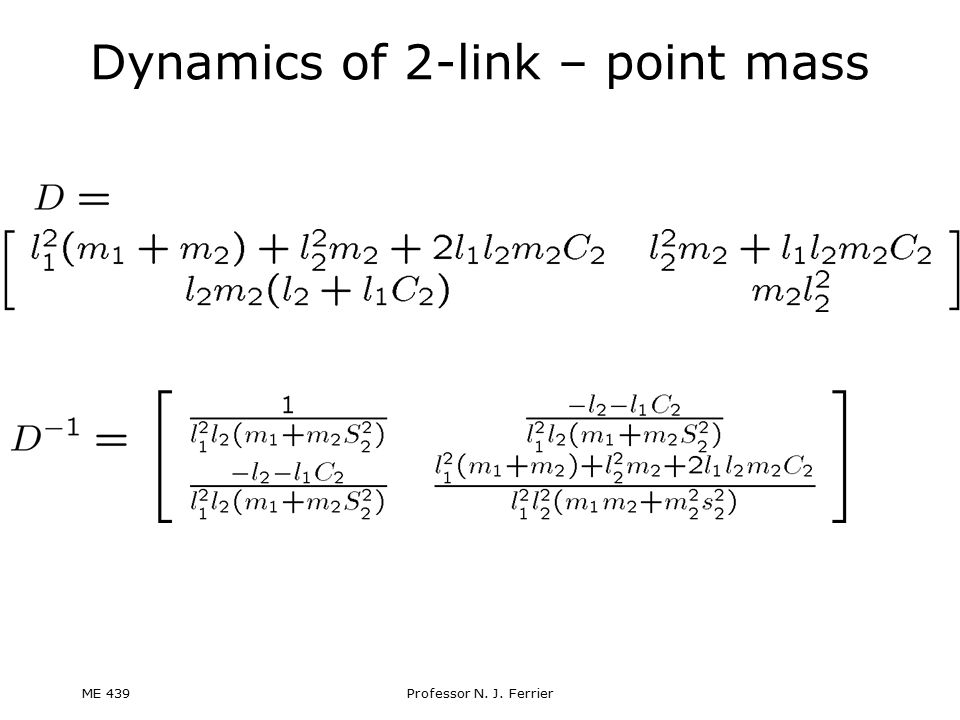 Dynamics of 2-link – point mass