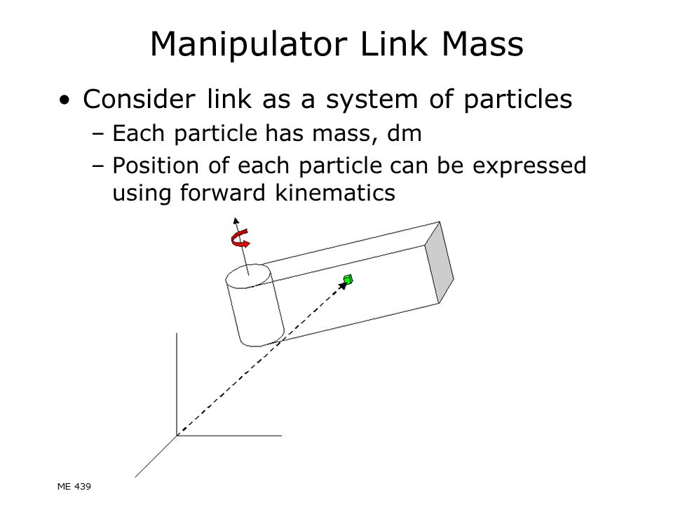Manipulator Link Mass Consider link as a system of particles