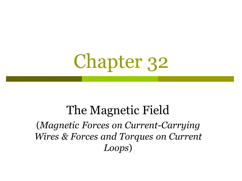 Chapter 32 The Magnetic Field