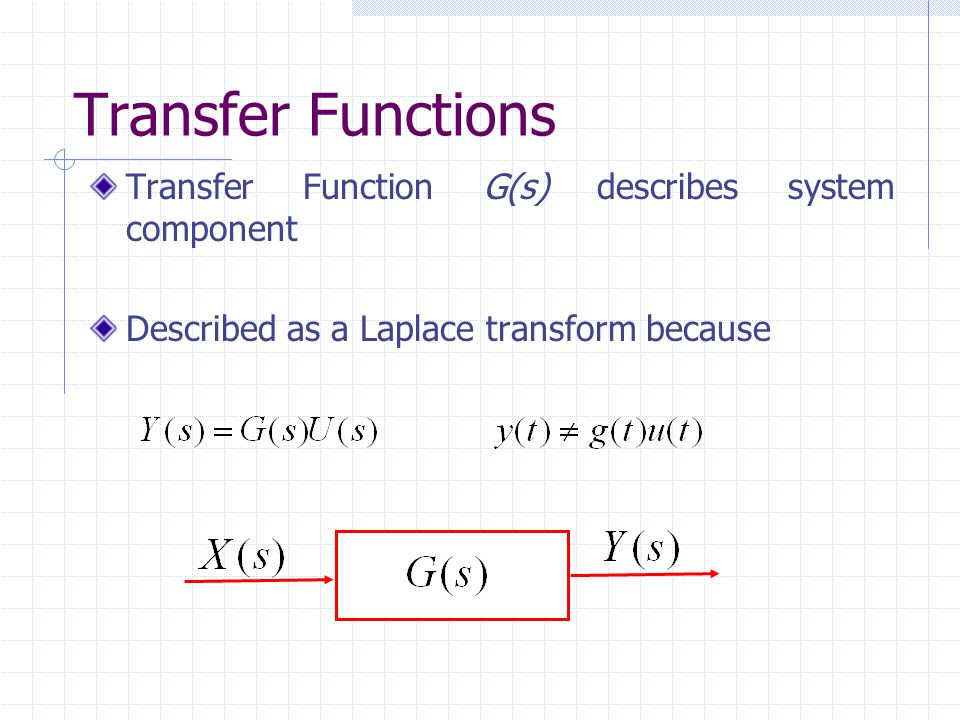 Transfer Functions Transfer Function G(s) describes system component
