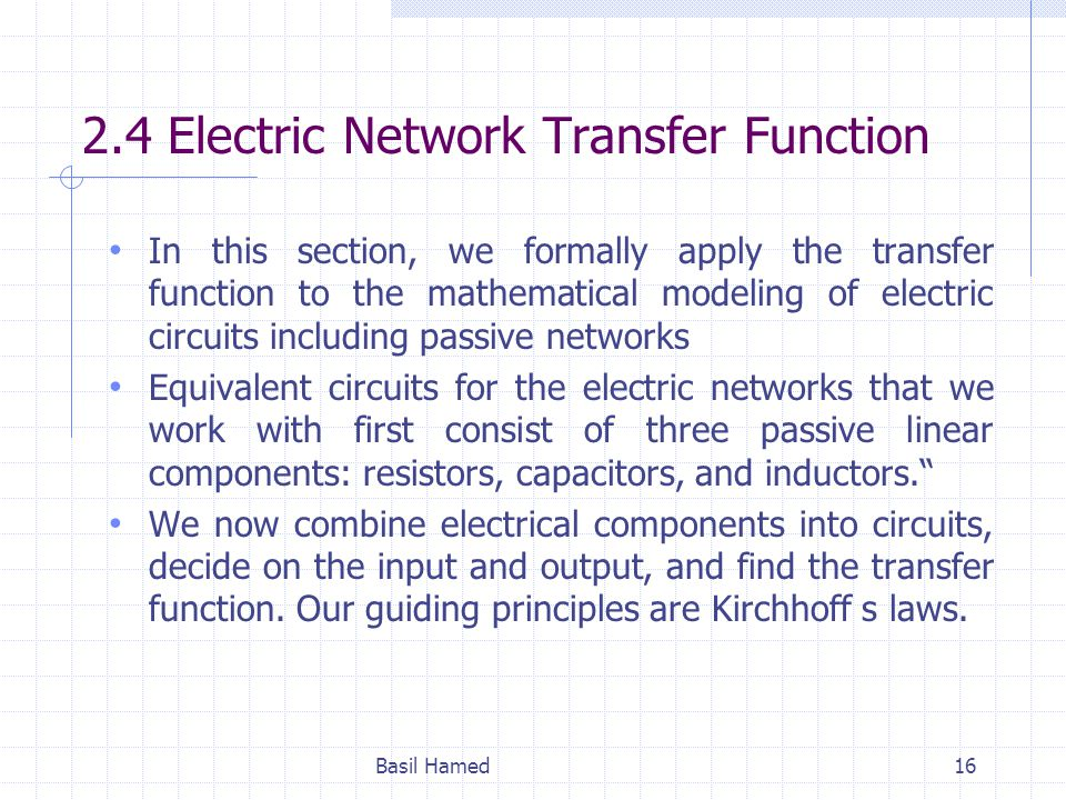 2.4 Electric Network Transfer Function