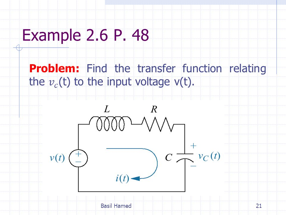 Example 2.6 P. 48 Problem: Find the transfer function relating the 𝑣 𝑐 (t) to the input voltage v(t).