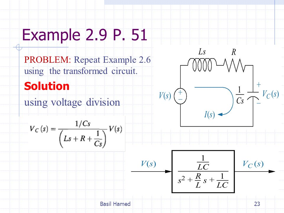 Example 2.9 P. 51 Solution using voltage division