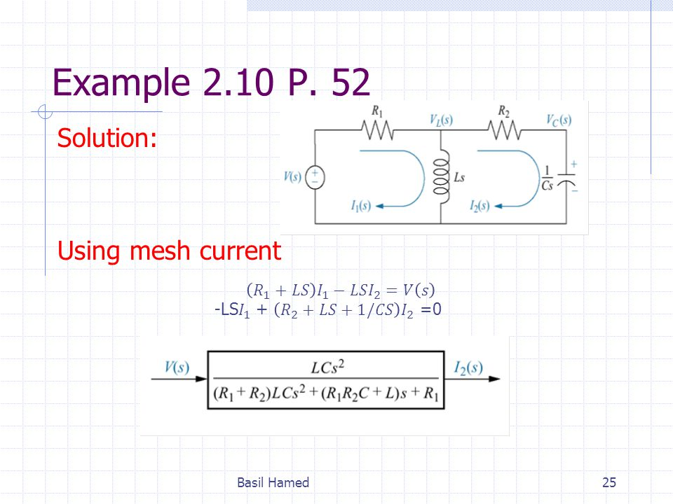 Example 2.10 P. 52 Solution: Using mesh current