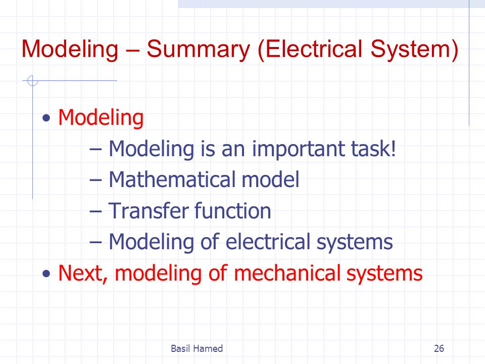 Modeling – Summary (Electrical System)