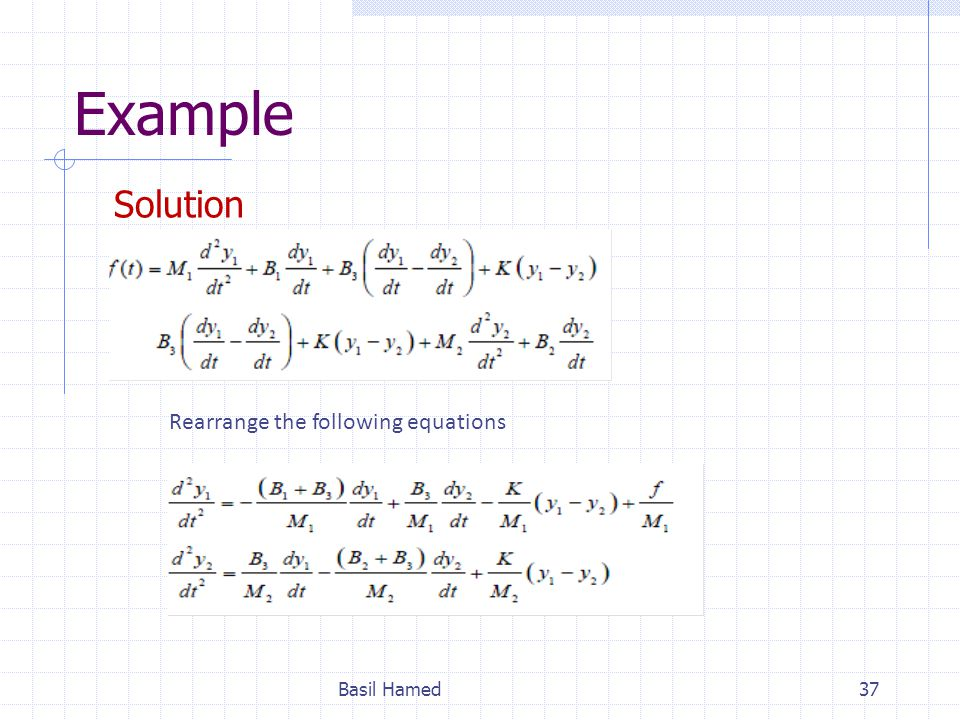 Example Solution Rearrange the following equations Basil Hamed