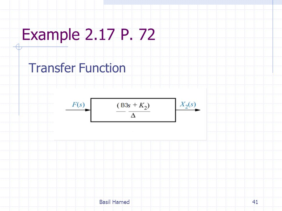 Example 2.17 P. 72 Transfer Function Basil Hamed