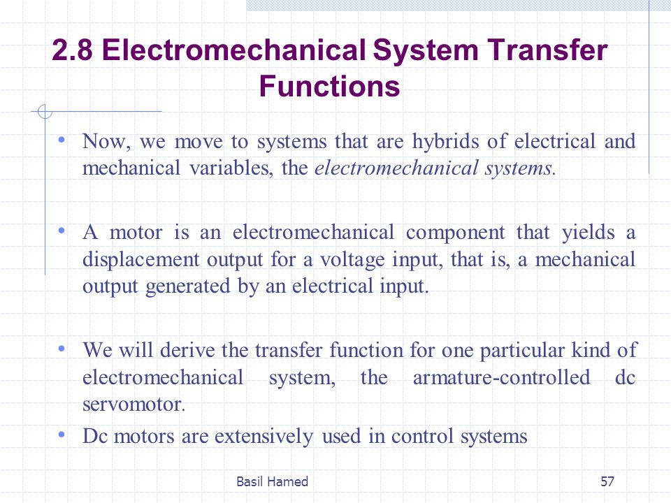 2.8 Electromechanical System Transfer Functions