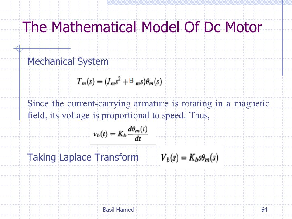 The Mathematical Model Of Dc Motor