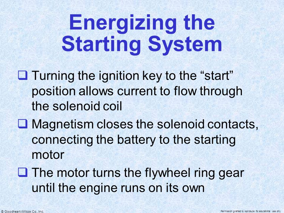 Energizing the Starting System