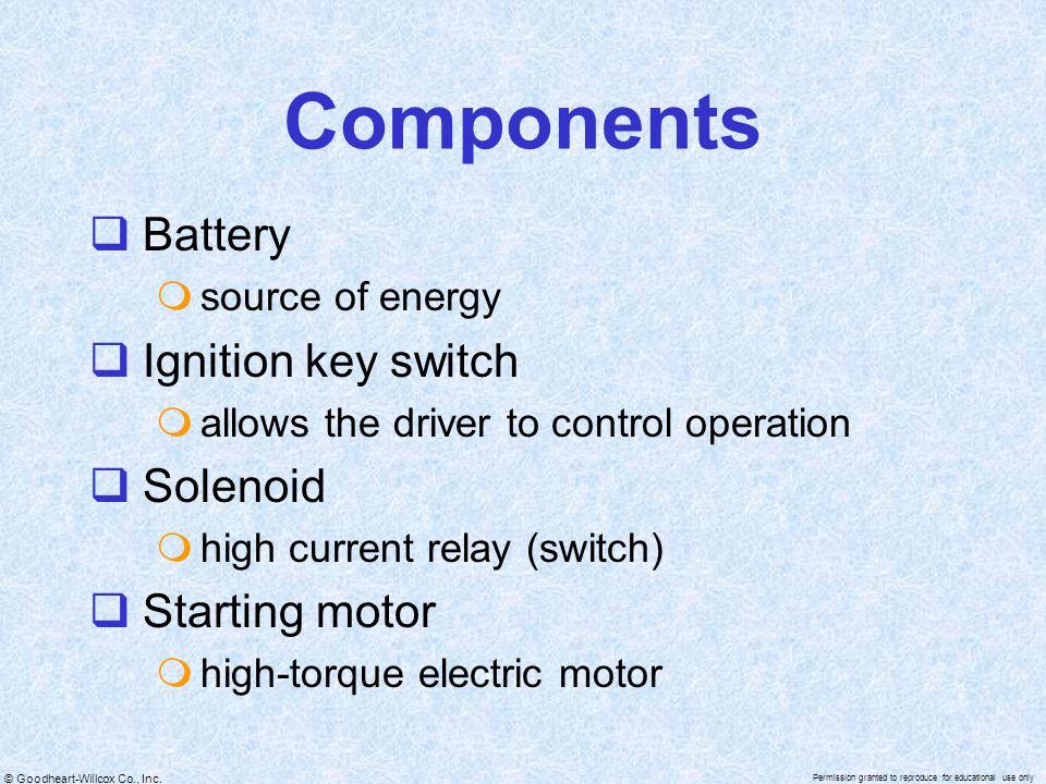 Components Battery Ignition key switch Solenoid Starting motor