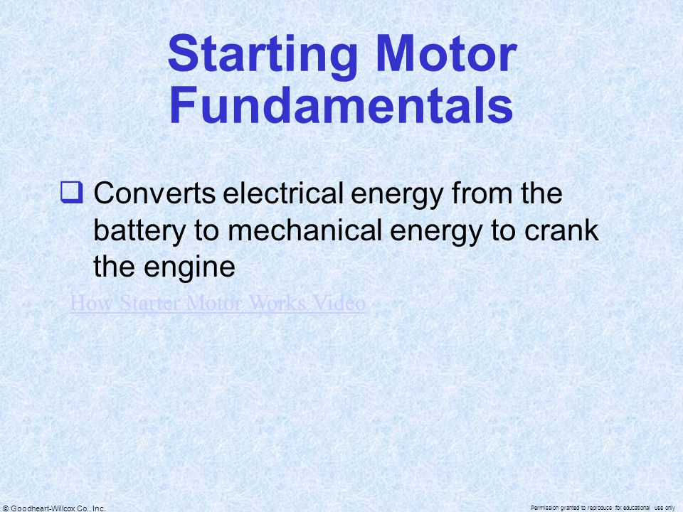 Starting Motor Fundamentals