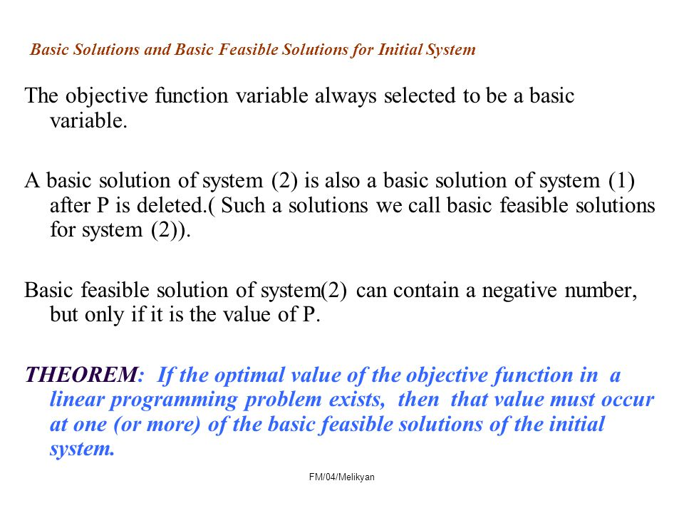 Basic Solutions and Basic Feasible Solutions for Initial System