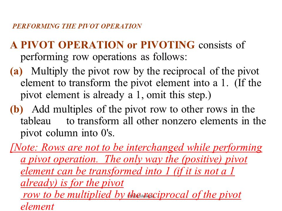 PERFORMING THE PIVOT OPERATION
