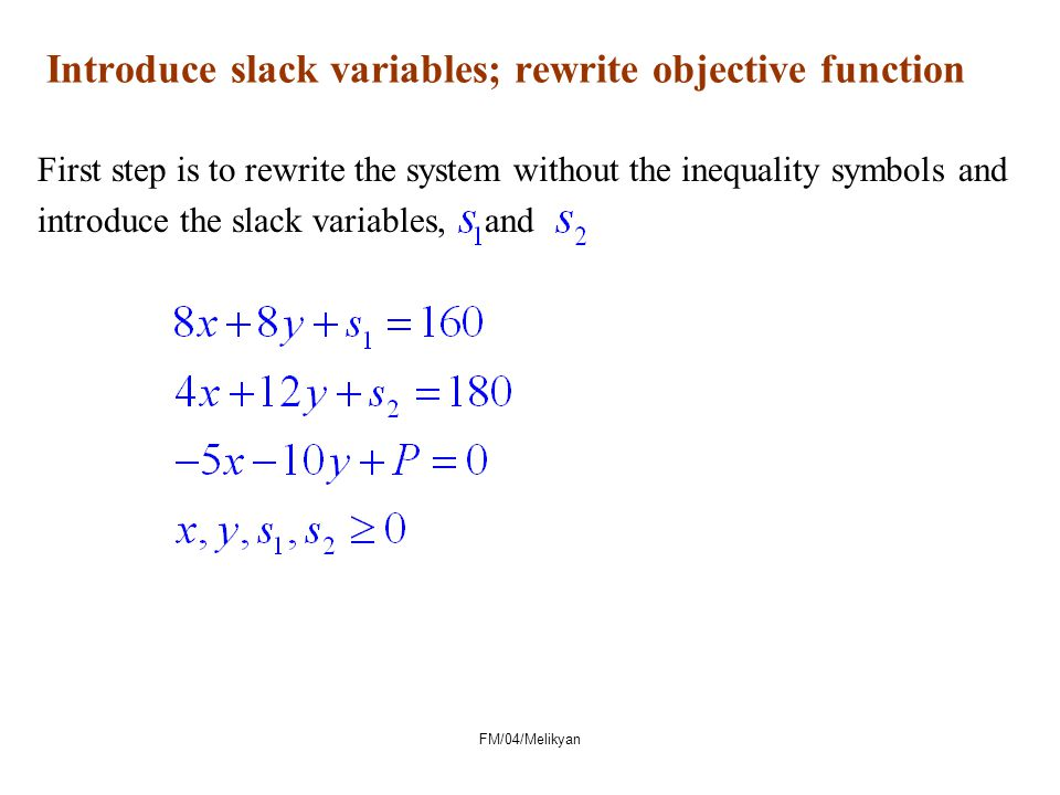 Introduce slack variables; rewrite objective function