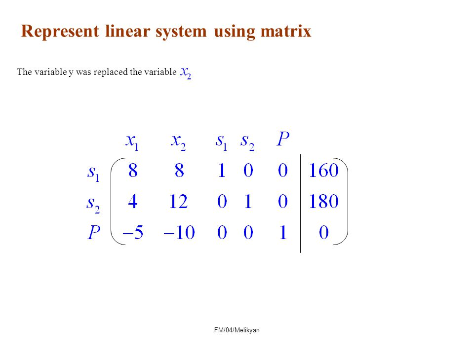 Represent linear system using matrix