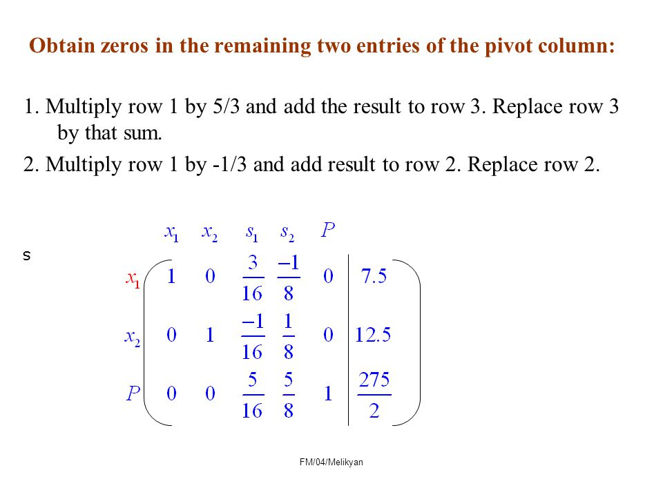 Obtain zeros in the remaining two entries of the pivot column: