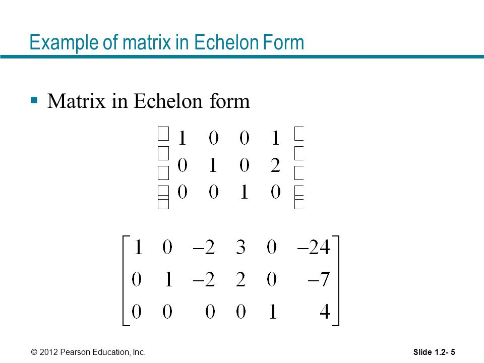 Example of matrix in Echelon Form