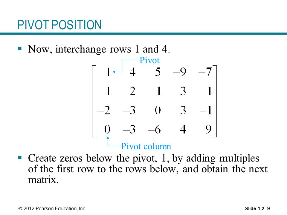 PIVOT POSITION Now, interchange rows 1 and 4.