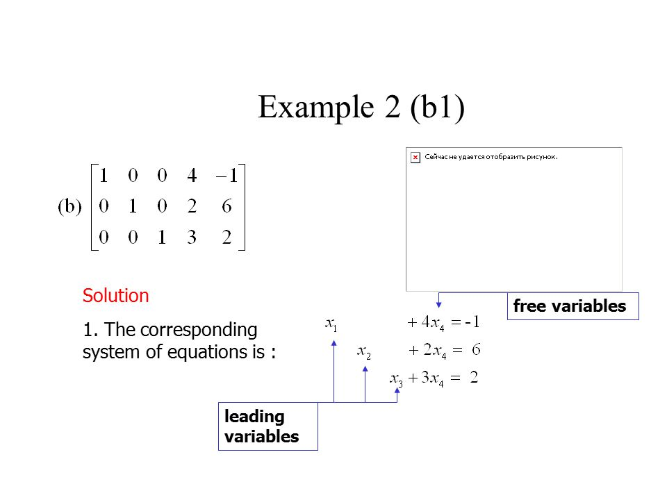 Example 2 (b1) Solution 1. The corresponding system of equations is :