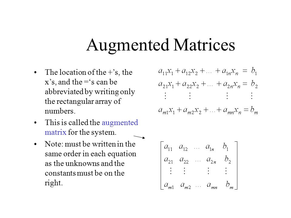 Augmented Matrices The location of the +'s, the x's, and the ='s can be abbreviated by writing only the rectangular array of numbers.
