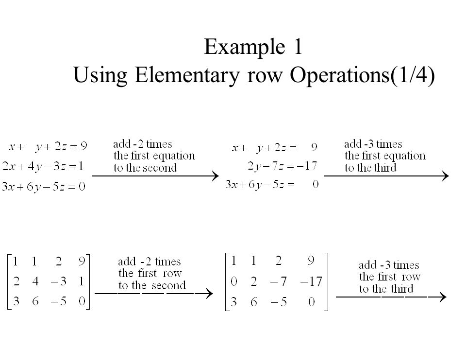 Example 1 Using Elementary row Operations(1/4)