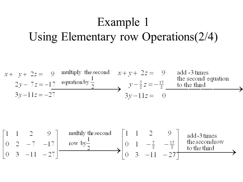 Example 1 Using Elementary row Operations(2/4)